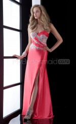Watermelon Sheath Sweetheart Charmeuse Long Ball Dresses (NZJT06502)