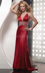Strench Satin Sheath Straps Court Train Red Ball Dresses (NZJT06510)