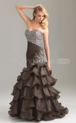 Brown Mermaid Sweetheart Taffeta Long Ball Dresses (NZJT06512)