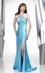Charmeuse Sheath Halter Court Train Sky Blue Ball Dresses (NZJT06521)