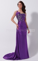 Strench Satin Sheath One Shoulder Court Train Grape Ball Dresses (NZJT06527)