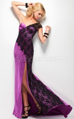 Black Sheath Sweep Train Satin Chiffon One Shoulder Ball Dresses (NZJT06532)