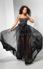 Chiffon A-line Sweetheart Sweep Train Black Ball Dresses (NZJT06533)