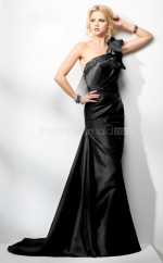 Black Mermaid Court Train Taffeta One Shoulder Ball Dresses (NZJT06536)