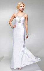 Satin Chiffon Sheath V-neck Court Train White Ball Dresses (NZJT06537)