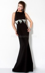 Satin Mermaid Bateau Sweep Train Black Ball Dresses (NZJT06538)