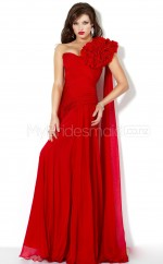 Red A-line Sweep Train Chiffon One Shoulder Ball Dresses (NZJT06541)