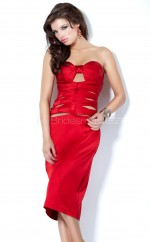 Satin Sheath Sweetheart Knee-length Red Ball Dresses (NZJT06548)