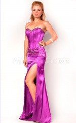 Fuchsia Sheath Sweetheart Strench Satin Long Ball Dresses (NZJT06552)