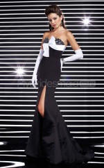 Satin Mermaid Sweetheart Court Train Black Ball Dresses (NZJT06553)