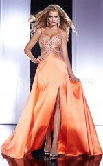 Orange A-line Halter Charmeuse Long Ball Dresses (NZJT06554)