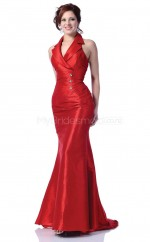 Taffeta Mermaid Halter Sweep Train Red Ball Dresses (NZJT06555)
