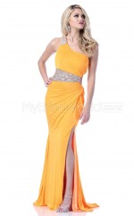 Orange Sheath High Neck Satin Chiffon Long Ball Dresses (NZJT06557)