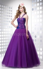 Organza Ball Gown One Shoulder Floor-length Grape Ball Dresses (NZJT06558)
