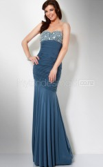 Chiffon Mermaid Strapless Sweep Train Ink Blue Ball Dresses (NZJT06563)