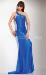 Ocean Blue Sheath Sweep Train Satin Chiffon One Shoulder Ball Dresses (NZJT06569)