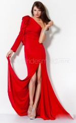 Red Sheath Sweep Train Knitwear One Shoulder Ball Dresses (NZJT06570)