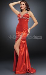 Strench Satin Sheath Halter Sweep Train Red Ball Dresses (NZJT06573)