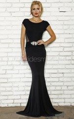 Knitwear Mermaid Jewel Sweep Train Black Ball Dresses (NZJT06575)