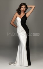 Sheath One Shoulder Satin Chiffon One Shoulder Ball Dresses (NZJT06578)