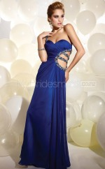 Royal Blue A-line Floor-length Chiffon One Shoulder Ball Dresses (NZJT06581)