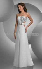 Chiffon A-line Strapless Sweep Train White Ball Dresses (NZJT06583)