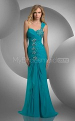 Turquoise Mermaid Sweep Train Chiffon One Shoulder Ball Dresses (NZJT06584)