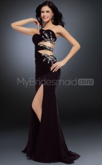 Black Mermaid Sweep Train Chiffon One Shoulder Ball Dresses (NZJT06586)