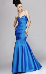 Taffeta Mermaid Sweetheart Floor-length Ocean Blue Ball Dresses (NZJT06590)