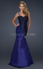 Ink Blue Mermaid Sweep Train Satin One Shoulder Ball Dresses (NZJT06599)