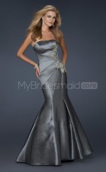 Silver Mermaid Strapless Taffeta Long Ball Dresses (NZJT06602)