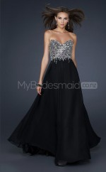 Chiffon A-line Sweetheart Sweep Train Black Ball Dresses (NZJT06603)