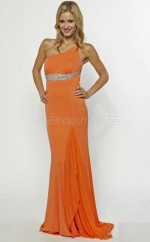 Orange Sheath Court Train Chiffon One Shoulder Ball Dresses (NZJT06607)