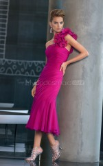 Fuchsia Sheath Tea-length Chiffon One Shoulder Ball Dresses (NZJT06611)