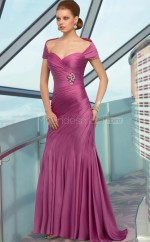 Mermaid Off The Shoulder Satin Chiffon Long Ball Dresses (NZJT06613)