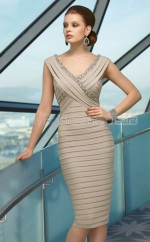 Champagne Sheath V-neck Chiffon Short Ball Dresses (NZJT06617)