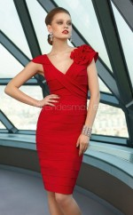 Chiffon Sheath V-neck Knee-length Red Ball Dresses (NZJT06619)