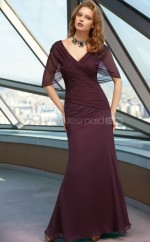 Mermaid V-neck Chiffon Long Ball Dresses (NZJT06620)