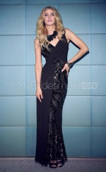 Lace Sheath V-neck Floor-length Black Ball Dresses (NZJT06621)