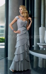 Silver A-line V-neck Satin Chiffon Long Ball Dresses (NZJT06622)
