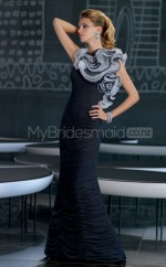 Chiffon Mermaid Jewel Sweep Train Black Ball Dresses (NZJT06623)