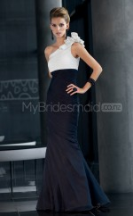 Black Mermaid Floor-length Chiffon One Shoulder Ball Dresses (NZJT06624)
