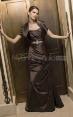 Chocolate Mermaid Strapless Stretch Satin Long Ball Dresses (NZJT06625)