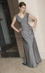 Silver A-line V-neck Satin Chiffon Long Ball Dresses (NZJT06628)