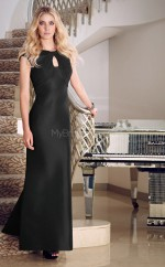 Satin A-line Jewel Floor-length Black Ball Dresses (NZJT06633)
