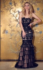 Tulle Mermaid Strapless Sweep Train Black Ball Dresses (NZJT06636)