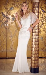 Ivory Sheath Jewel Charmeuse Long Ball Dresses (NZJT06637)