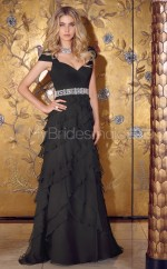Chiffon A-line Off The Shoulder Court Train Black Ball Dresses (NZJT06640)
