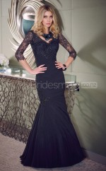 Lace Mermaid V-neck Floor-length Black Ball Dresses (NZJT06641)