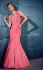 Watermelon Mermaid Floor-length Chiffon One Shoulder Ball Dresses (NZJT06651)